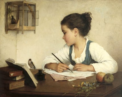 girl writing header